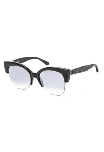 Jimmy Choo Priya/S Sunglasses Black Glitter (IC) / Grey Mirror Shaded Silver Jimmy Choo Trend Savvy