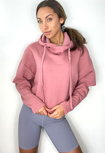 Bitchin Basics Cut Out Fleece Hoodie in Mauve BITCHIN BASICS Trend Savvy